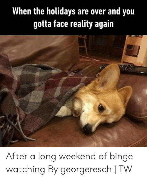 the holidays: When the holidays are over and you  gotta face reality again After a long weekend of binge watching  By georgeresch | TW