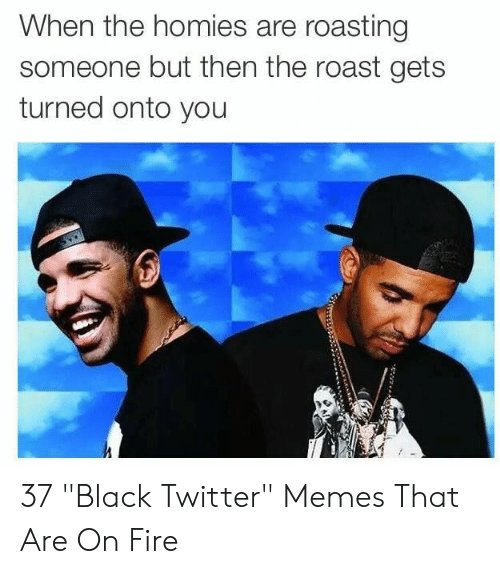 "Fire, Memes, and Roast: When the homies are roasting  someone but then the roast gets  turned onto you 37 ""Black Twitter"" Memes That Are On Fire"