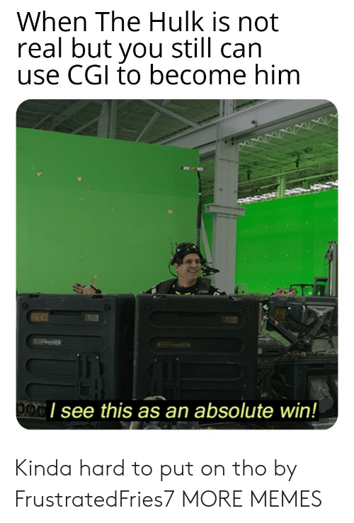 cgi: When The Hulk is not  real but you still can  use CGI to become him  I see this as an absolute win! Kinda hard to put on tho by FrustratedFries7 MORE MEMES