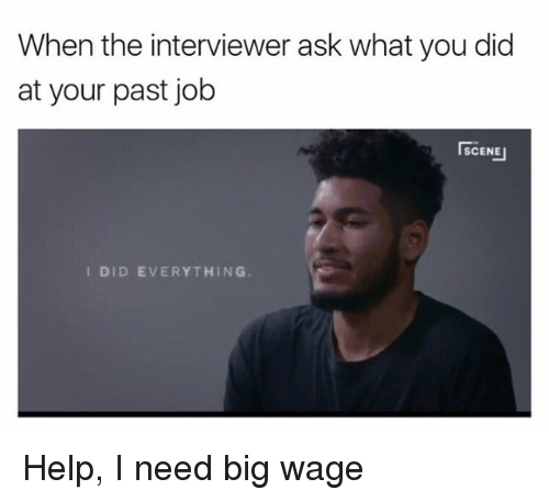 Memes, Help, and Jobs: When the interviewer ask what you did  at your past job  SCENE  I DID EVERYTHING Help, I need big wage