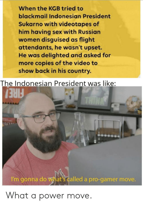 Russian Women: When the KGB tried to  blackmail Indonesian President  Sukarno with videotapes of  him having sex with Russian  women disguised as flight  attendants, he wasn't upset.  He was delighted and asked for  more copies of the video to  show back in his country.  The Indonesian President was like:  FIRE!  I'm gonna do what's called a pro-gamer move. What a power move.