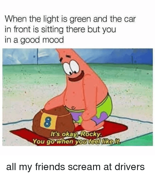 Friends, Mood, and Rocky: When the light is green and the car  in front is sitting there but you  in a good mood  It's okay Rocky  You go when you feelukelt all my friends scream at drivers
