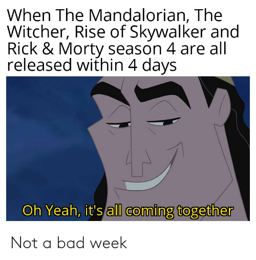 rick morty: When The Mandalorian, The  Witcher, Rise of Skywalker and  Rick & Morty season 4 are all  released within 4 days  Oh Yeah, it's all coming together Not a bad week