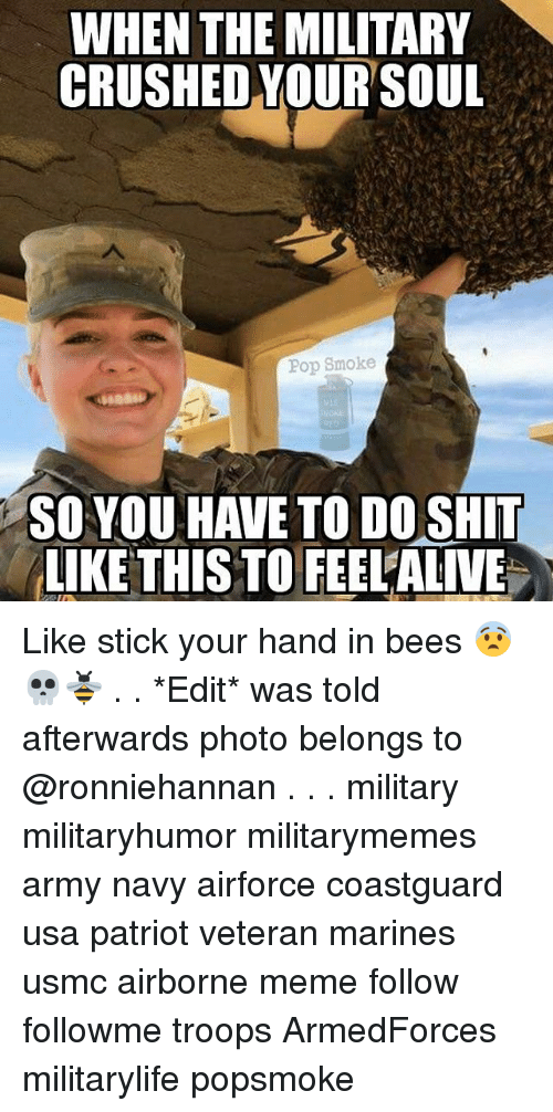 Meme, Memes, and Pop: WHEN THE MILITARY  CRUSHED YOUR SOUL  Pop Smoke  SO YOU HAVE TO DO SHIT  LIKE THIS TO FEELALIVE Like stick your hand in bees 😨💀🐝 . . *Edit* was told afterwards photo belongs to @ronniehannan . . . military militaryhumor militarymemes army navy airforce coastguard usa patriot veteran marines usmc airborne meme follow followme troops ArmedForces militarylife popsmoke