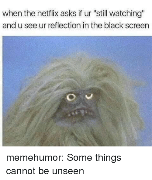 """Netflix, Tumblr, and Black: when the netflix asks if ur """"still watching""""  and u see ur reflection in the black screen memehumor:  Some things cannot be unseen"""