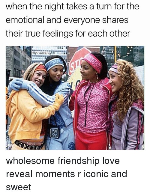 Love, Memes, and True: when the night takes a turn for the  emotional and everyone shares  their true feelings for each other  @pixietang wholesome friendship love reveal moments r iconic and sweet