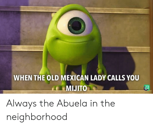 Mexican: WHEN THE OLD MEXICAN LADY CALLS YOU  MIJITO Always the Abuela in the neighborhood