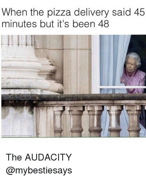 Pizza, Audacity, and Girl Memes: When the pizza delivery said 45  minutes but it's been 48  1 The AUDACITY @mybestiesays