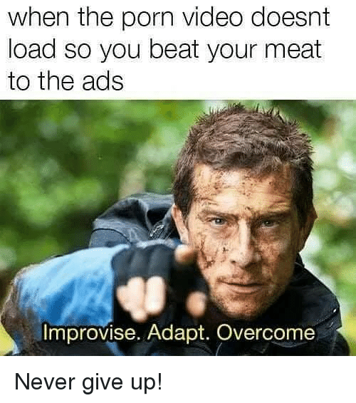 Memes, Porn, and Porn Video: when the porn video doesnt  load so you beat your meat  to the ads  Improvise. Adapt. Overcome Never give up!