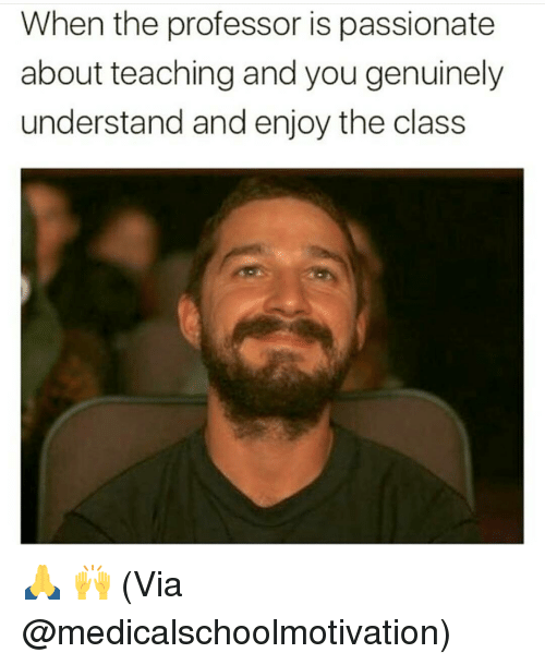 Memes, Passionate, and Teaching: When the professor is passionate  about teaching and you genuinely  understand and enjoy the class 🙏 🙌 (Via @medicalschoolmotivation)