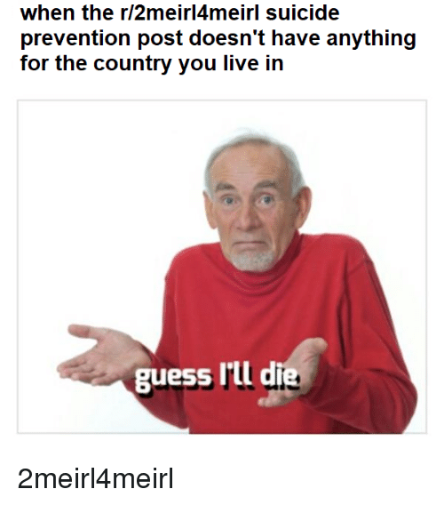 Guess, Live, and Suicide: when the r/2meirl4meirl suicide  prevention post doesn't have anything  for the country you live in  guess I'll d