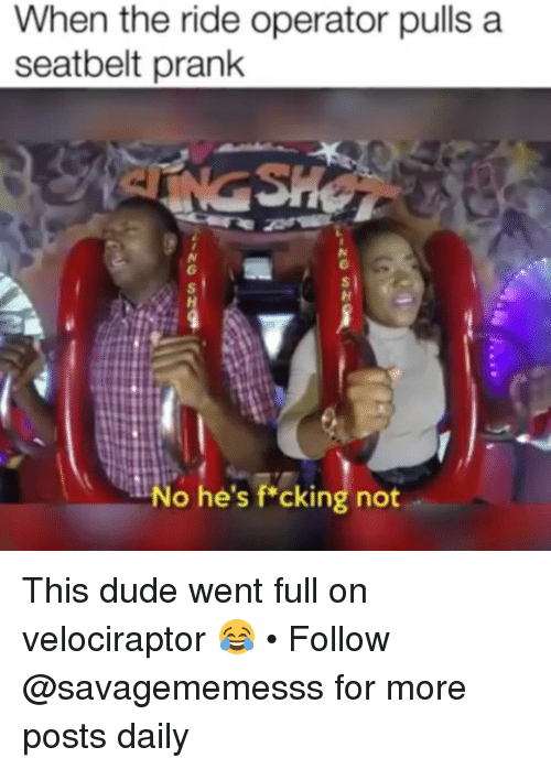 Dude, Memes, and Prank: When the ride operator pulls a  seatbelt prank  No he's f cking not This dude went full on velociraptor 😂 • Follow @savagememesss for more posts daily