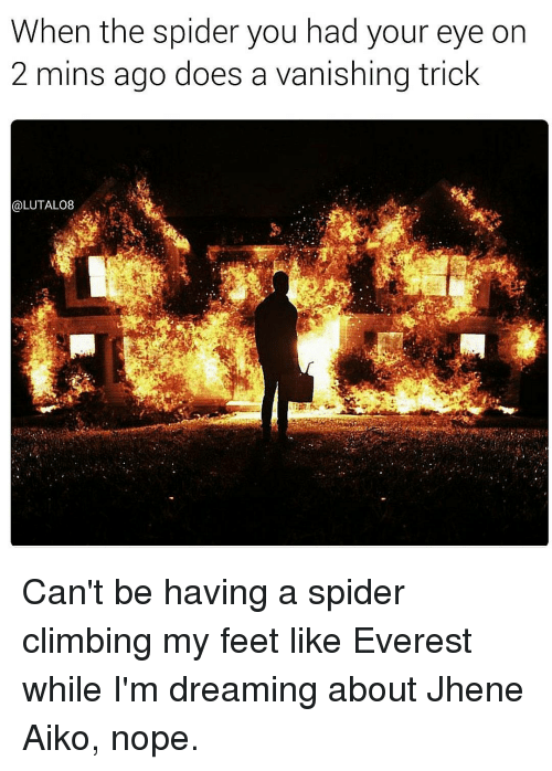 Jhene: When the spider you had your eye on  2 mins ago does a vanishing trick  @LUTALO8 Can't be having a spider climbing my feet like Everest while I'm dreaming about Jhene Aiko, nope.