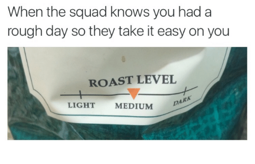 Squadding: When the squad knows you had a  rough day so they take it easy on you  ROAST LEVEL  DARA  LIGHT  MEDIUM
