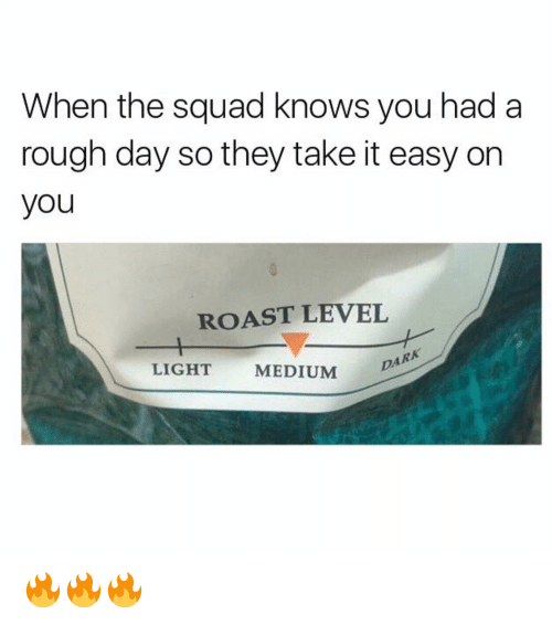 When The Squad: When the squad knows you had a  rough day so they take it easy on  you  ROAST LEVEL  LIGHT  MEDIUM  DARK 🔥🔥🔥