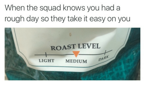 When The Squad: When the squad knows you had a  rough day so they take it easy on you  ROAST LEVEL  LIGHT  MEDIUM  DA