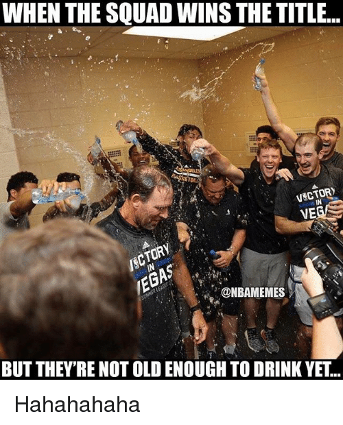 Nba, Squad, and Old: WHEN THE SQUAD WINS THE TITLE..  VSCTOR  VE  IN  NBAMEMES  BUT THEY'RE NOT OLD ENOUGH TO DRINK YET... Hahahahaha