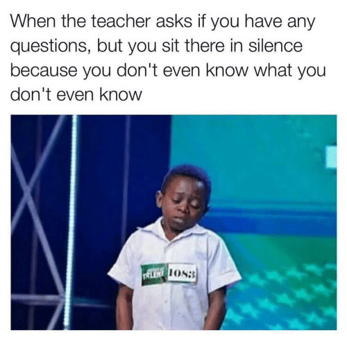 Funny Any Questions Meme : When the teacher asks if you have any questions but