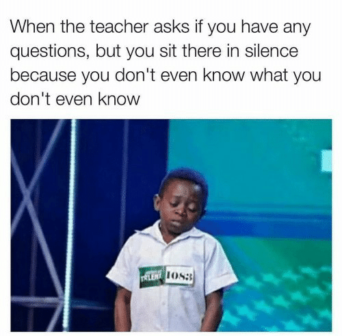any questions: When the teacher asks if you have any  questions, but you sit there in silence  because you don't even know what you  don't even know  LENOS