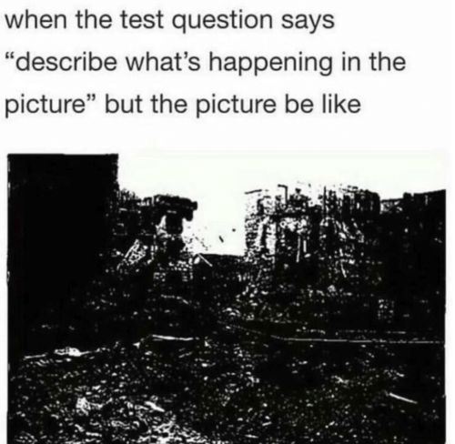 """what's happening: when the test question says  """"describe what's happening in the  picture"""" but the picture be like"""