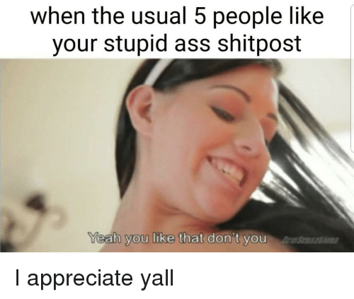 Your Stupid: when the usual 5 people like  your stupid ass shitpost  eah you like that don't you  Sens I appreciate yall
