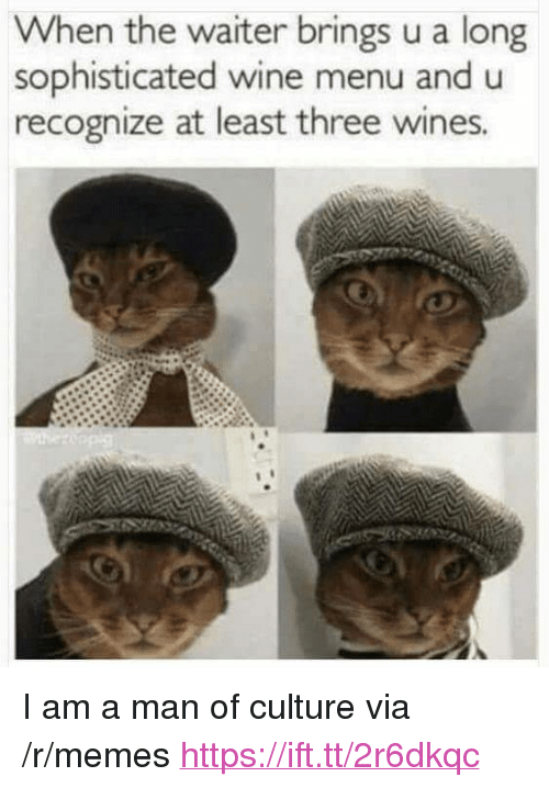 "wines: When the waiter brings u a long  sophisticated wine menu and u  recognize at least three wines <p>I am a man of culture via /r/memes <a href=""https://ift.tt/2r6dkqc"">https://ift.tt/2r6dkqc</a></p>"
