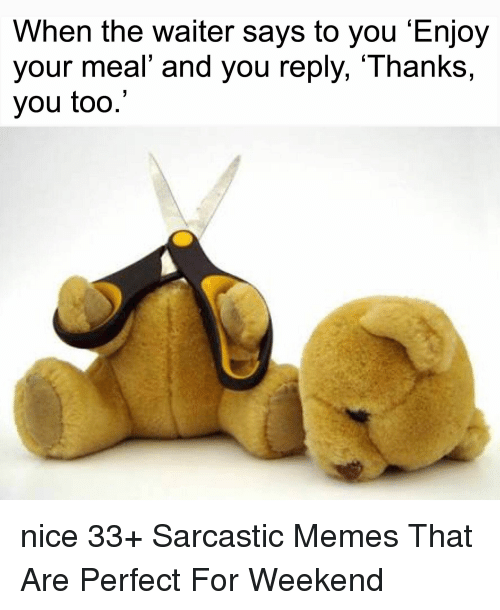 sarcastic memes: When the waiter says to you 'Enjoy  you  r meal' and you reply, Thanks,  you too.' nice 33+ Sarcastic Memes That Are Perfect For Weekend