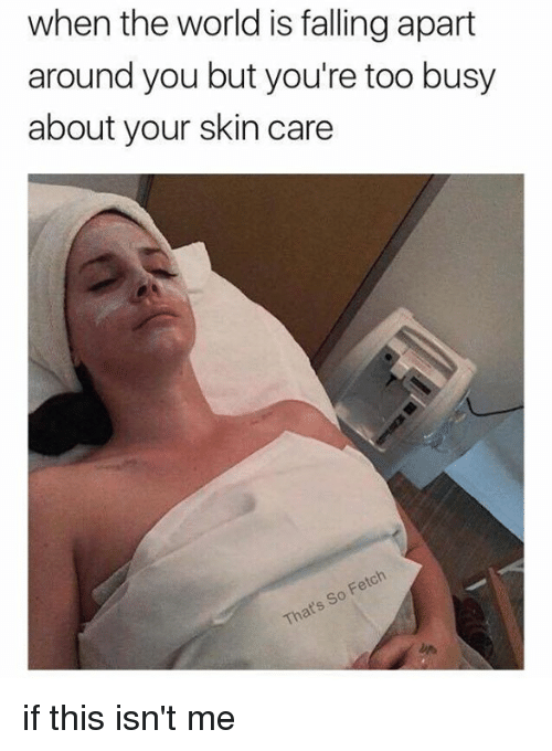 Memes, World, and 🤖: when the world is falling apart  around you but you're too busy  about your skin care  That's So Fetch if this isn't me