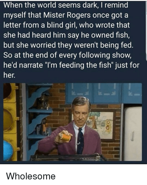 "Narrate: When the world seems dark, lI remind  myself that Mister Rogers once got a  letter from a blind girl, who wrote that  she had heard him say he owned fish  but she worried they weren't being fed.  So at the end of every following show  he'd narrate ""I'm feeding the fish"" just for  her. <p>Wholesome</p>"