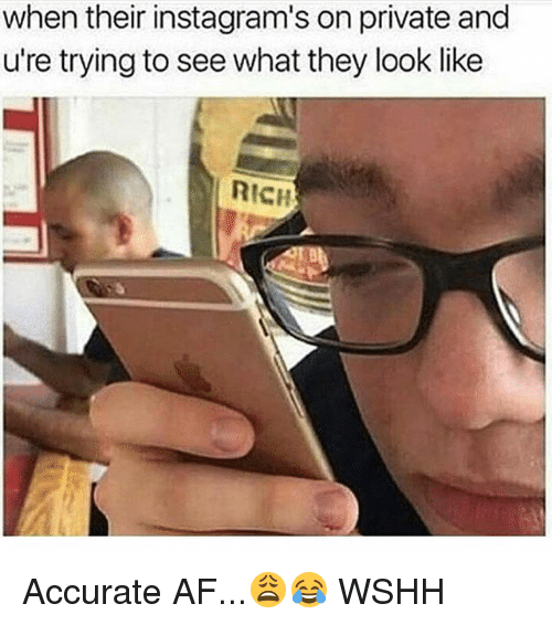 Af, Memes, and Wshh: when their instagram's on private and  u're trying to see what they look like  RICH Accurate AF...😩😂 WSHH