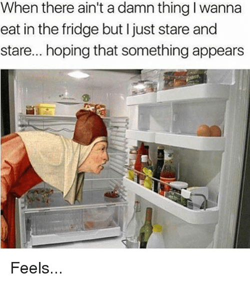 Fridge, Damned, and Thing: When there ain't a damn thing I wanna  eat in the fridge but l just stare and  stare... hoping that something appears Feels...