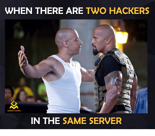 Gaming Meme: WHEN THERE ARE  TWO HACKERS  GAMING MEMES  IN THE  SAME SERVER