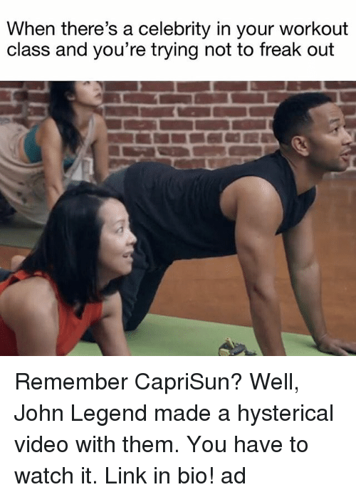 John Legend, Link, and Video: When there's a celebrity in your workout  class and you're trying not to freak out Remember CapriSun? Well, John Legend made a hysterical video with them. You have to watch it. Link in bio! ad