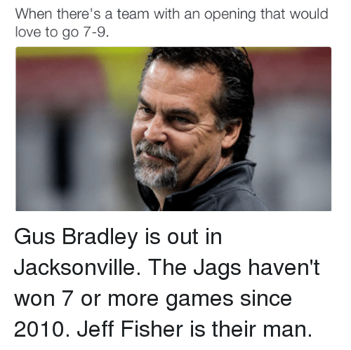 Jeff Fisher: When there's a team with an opening that would  love to go 7-9. Gus Bradley is out in Jacksonville. The Jags haven't won 7 or more games since 2010.  Jeff Fisher is their man.