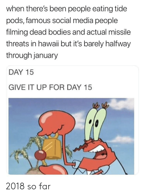 dead bodies: when there's been people eating tide  pods, famous social media people  filming dead bodies and actual missile  threats in hawaii but it's barely halfway  through january  DAY 15  GIVE IT UP FOR DAY 15 2018 so far