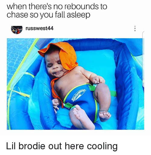 Fall, Memes, and Chase: when there's no rebounds to  chase so you fall asleep  russwest44 Lil brodie out here cooling