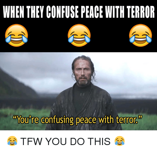 "Confused, Dank, and Tfw: WHEN THEY CONFUSE PEACE WITH TERROR  ""You're confusing peace with terror 😂 TFW YOU DO THIS 😂"