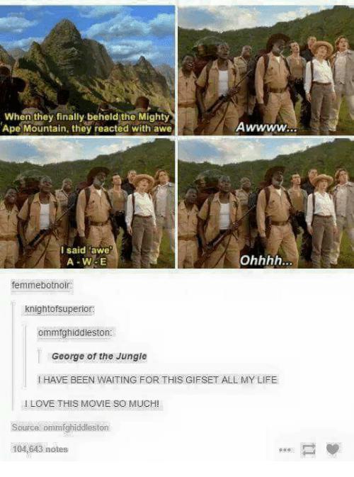 """awe: When they finally beheld the Mighty  AwWWW  Ape Mountain, they reacted with awe  I said awe""""  A W5E  femmebotnoir:  knightofsuperior:  ommfghiddleston  George of the Jungle  HAVE BEEN WAITING FOR THIS GIFSET ALL MY LIFE  I LOVE THIS MOVIE SO MUCHI  source ommfghiddleston  104,643 notes"""