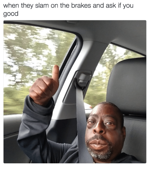 Memes, Good, and 🤖: when they slam on the brakes and ask if you  good