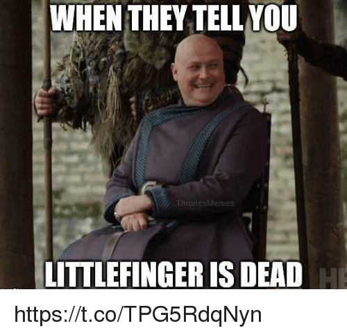 They, You, and Dead: WHEN THEY TELL YOU  LITTLEFINGER IS DEAD https://t.co/TPG5RdqNyn