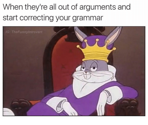Grammarly: When they're all out of arguments and  start correcting your grammar  G: TheFunnylntrovert