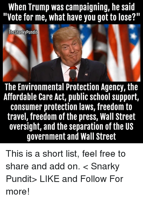 """pundit: When Trump was campaigning, he said  """"Vote for me, what have you got to lose?  Thesnarky Pundit  The Environmental Protection Agency, the  Affordable Care Act, public school support,  consumer protection laws, freedom to  travel, freedom of the press, Wall Street  oversight, and the separation of the US  government and Wall Street This is a short list, feel free to share and add on.  < Snarky Pundit> LIKE and Follow For more!"""