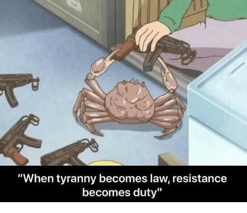 """Tyranny: """"When tyranny becomes law, resistance  becomes duty"""""""