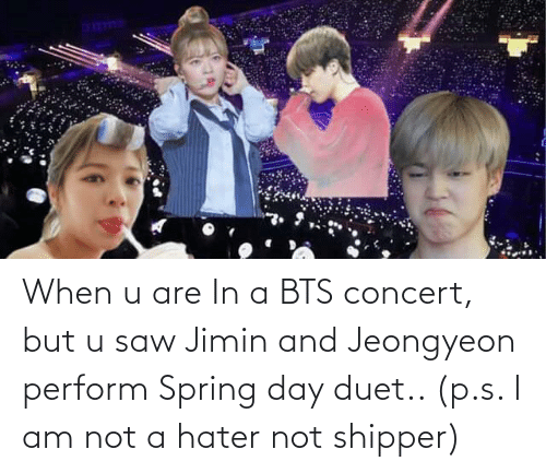 BTS: When u are In a BTS concert, but u saw Jimin and Jeongyeon perform Spring day duet.. (p.s. I am not a hater not shipper)