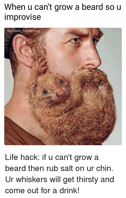 Beard, Ironic, and Life: When u can't grow a beard so u  improvise  Sarcastic Tendencie Life hack: if u can't grow a beard then rub salt on ur chin. Ur whiskers will get thirsty and come out for a drink!