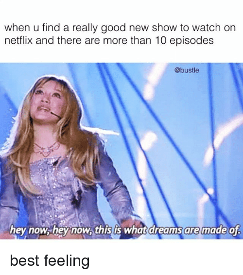Memes, Netflix, and Best: when u find a really good new show to watch on  netflix and there are more than 10 episodes  @bustle  hey now hey now,this is What dreams are made of best feeling