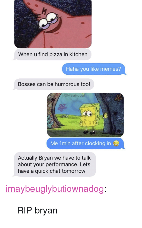 """humorous: When u find pizza in kitcher  Haha you like memes?  Bosses can be humorous too!  @MasiPopa  Me 1min after clocking in  Actually Bryan we have to talk  about your performance. Lets  have a quick chat tomorrow <p><a href=""""http://imaybeuglybutiownadog.tumblr.com/post/173462773575/rip-bryan"""" class=""""tumblr_blog"""">imaybeuglybutiownadog</a>:</p><blockquote><p>RIP bryan</p></blockquote>"""