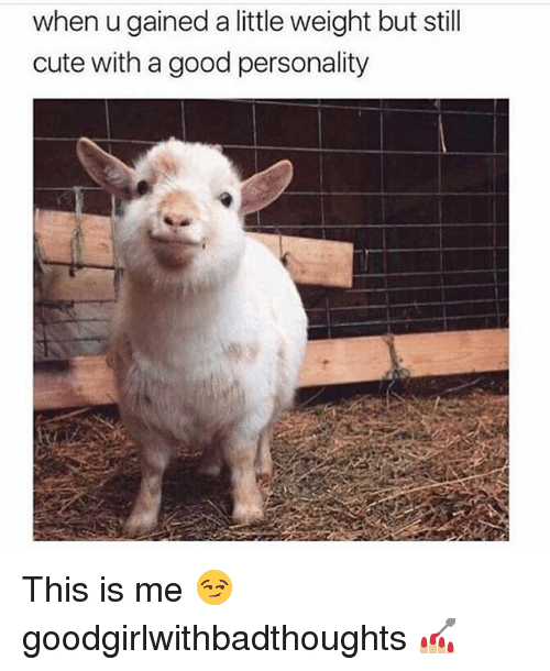 Cute, Memes, and Good: when u gained a little weight but still  cute with a good personality This is me 😏 goodgirlwithbadthoughts 💅🏼