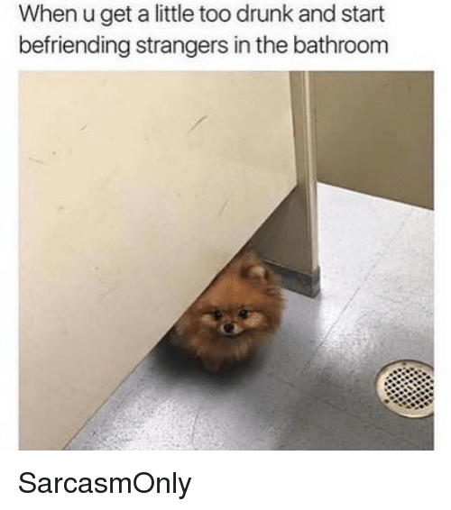 Drunk, Funny, and Memes: When u get a little too drunk and start  befriending strangers in the bathroom SarcasmOnly
