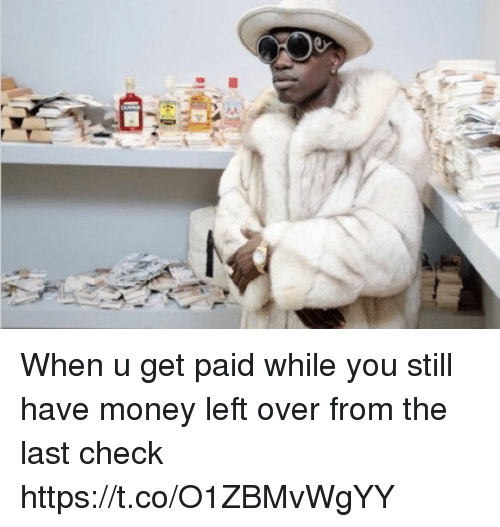 Money, Girl Memes, and Check: When u get paid while you still have money left over from the last check https://t.co/O1ZBMvWgYY